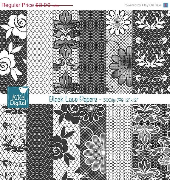 Black Lace Digital Papers - Digital Scrapbook Papers - card design, background