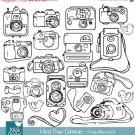 HDrawn Cameras Clip ArtCameras ClipartLine art CamerasPhotographer LogoVector EPS