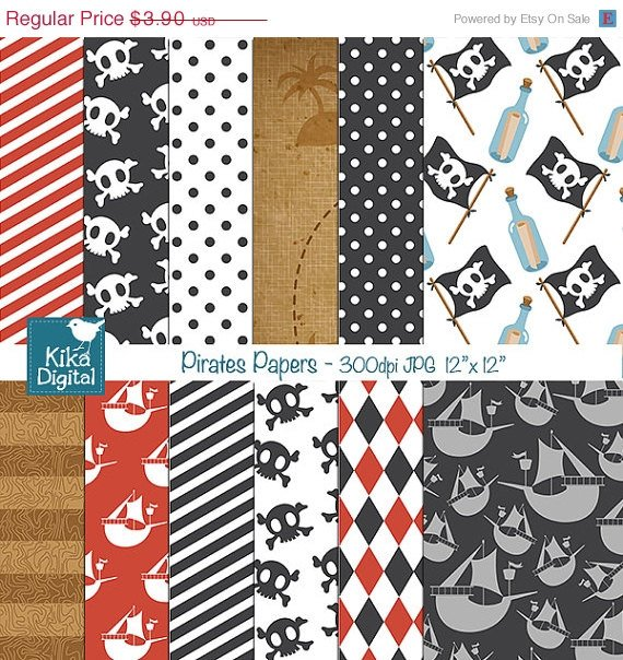 Pirates Digital Papers - Scrapbooking, card design, stickers, background