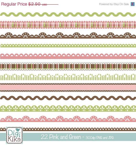 22 Pink ,Brw Digital Borders Clipart - scrapbooking, card design, stickers