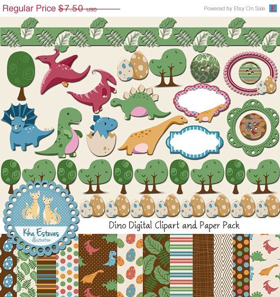 Dinosaur Digital Bundle-Digital Clip artScrapbook Paper-card makingphotographdesign