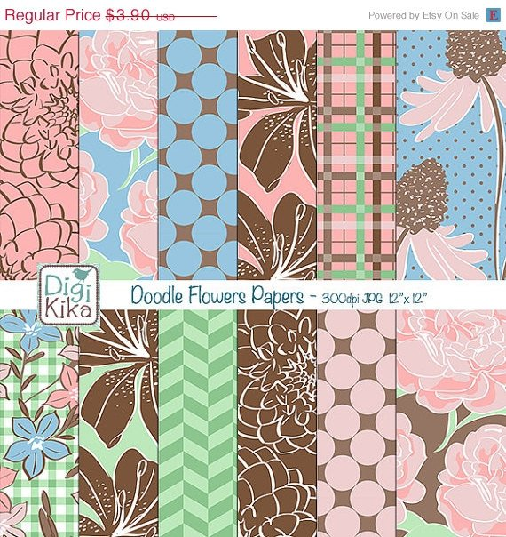 Doodle Flowers Digital Papers - Floral Scrapbook Papers - card design