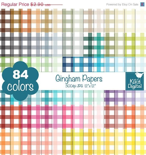 Gingham Digital Papers - Rainbow Scrapbook Papers - Huge Paper Pack