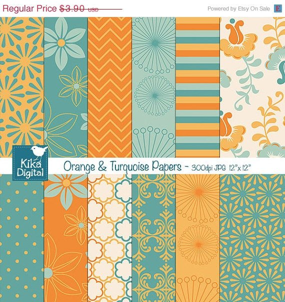 Org , Turquoise Digital Papers - Digital Scrapbooking Papers - card design
