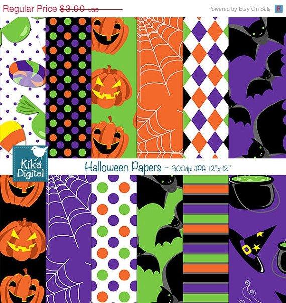 Hoween Papers - Digital Scrapbook Papers - card design, invitations, stickers