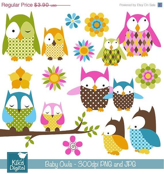 Baby Owl Digital Clipart - Scrapbook , card design, invitations, stickers