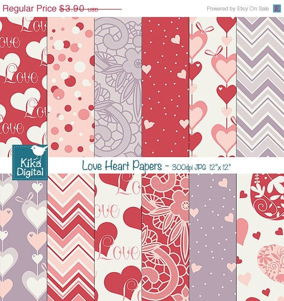 Valentines Hearts Digital PapersValentines PapersLove Digital Scrapbook Paper in Red Purple