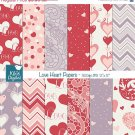 Valentines Hearts Digital PapersValentines PapersLove Digital Scrapbook Paper in Red Purple
