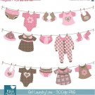 Girl Laundry Line Digital Clipart - Scrapbooking , card design, stickers