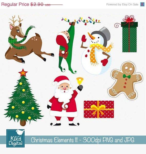 Christmas Elements set II- Digital Clipart / Scrapbooking- card design, stickers