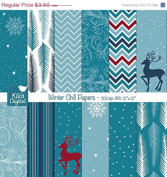 Winter Digital Papers,Winter Chill Scrapbooking Papers,Blue Winter Background,Winter Cards