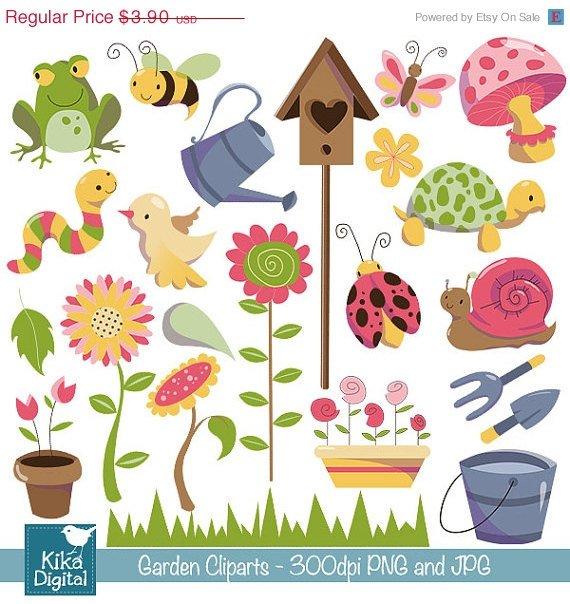 Garden Digital Clipart - Scrapbooking , card design, invitations, stickers