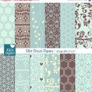 Mint , Brown Digital Papers - Mint Wedding Papers - Scrapbooking, card design