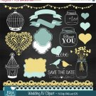 Wedding clipartchalkboard wedding clip artaqua gold wedding clipartvector EPS