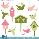 Birds , Houses Digital Clipart / Scrapbooking - card design, stickers