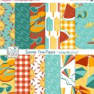 Summer Digital Papers-Summer Time Tileable/Seamless Pattern-website   paper