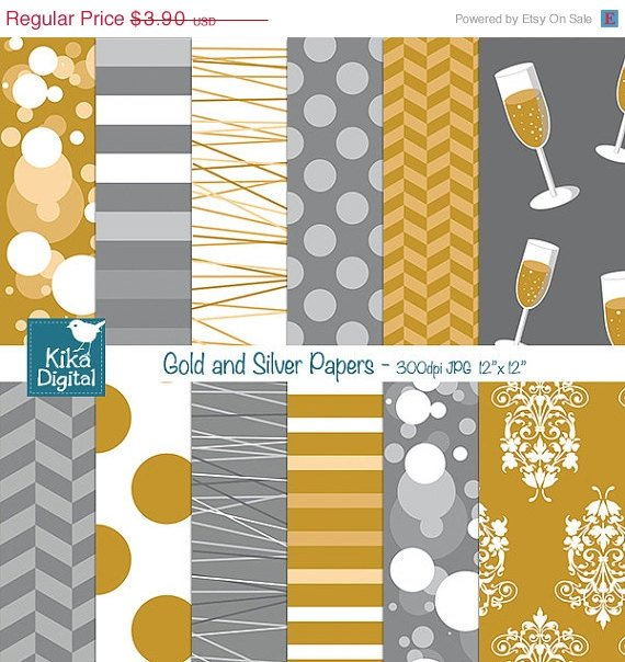 Gold Silver Digital Papers-Digital Clipart/Scrapbooking goldensilver-card design