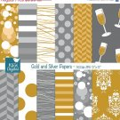 Gold Silver Digital Papers-Digital Clipart/Scrapbooking goldensilver-card design