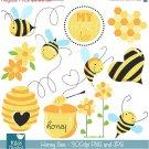 Honey Bee Digital Clipart - Scrapbooking , card design, invitations, photo booth