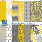 Yellow , Grey Digital Papers, Scrapbook Papers, Yellow Papers - card design