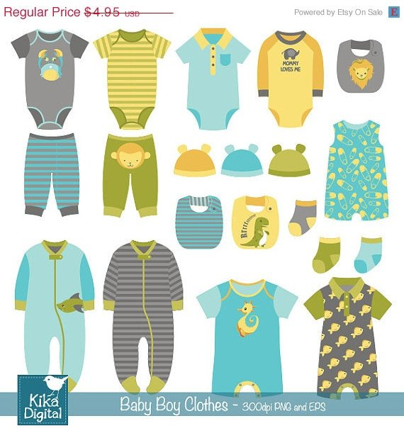Boy Baby Clothes clip art, baby clothing, baby boy announcement, vector EPS