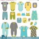 Boy Baby Clothes clip art, baby clothing, baby boy announcement, vector EPS