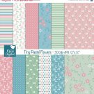 Tiny Pastel Flowers Digital Papers - Digital Scrapbooking Papers - card design