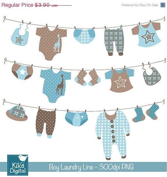 Boy Laundry Line Digital Clipart - Scrapbooking , card design, stickers