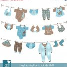 Boy Laundry Line Digital Clipart - Scrapbooking , card design, stickers