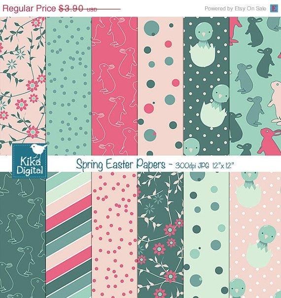 Spring Easter Digital Papers - Happy Easter Papers - Scrapbook, card design
