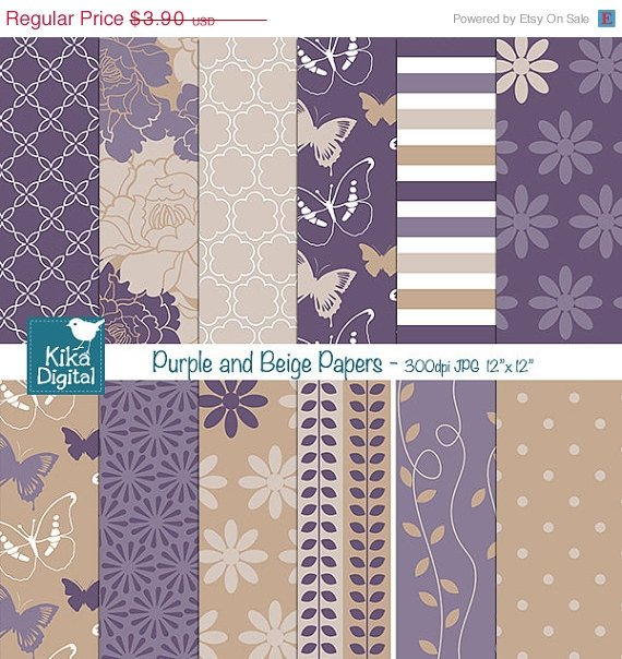 Purples , Beige Digital Papers - Wedding Papers - scrapbook, card design