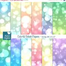 Colorful Bokeh Digital Papers, Pastel Color Bokeh Scrapbook Papers - card design