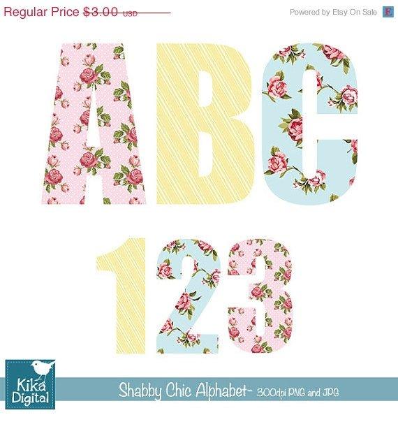 Shabby Chic Digital Alphabet-Digital Clipart / Scrapbooking-card designstickers