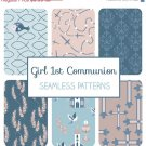 Boy First Communion Seamless Pattern-Communion Tillable Background-Fabric Papers