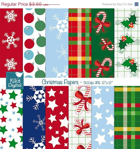 Christmas Papers - Digital Scrapbooking Papers - card design, stickers