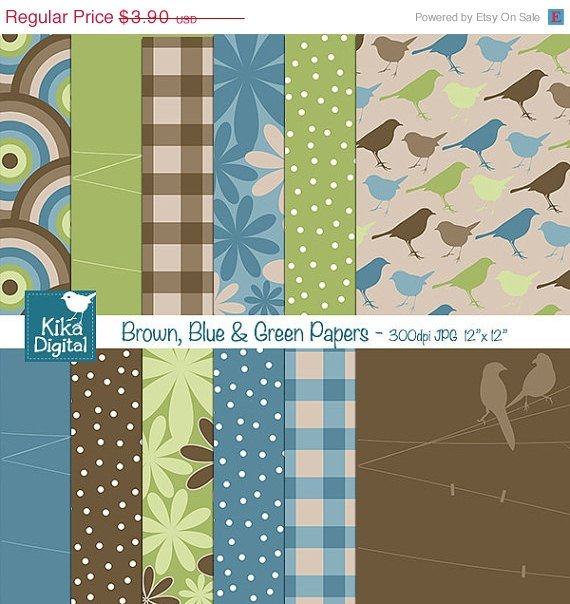 Brown Blu Grn Digital Papers - Scrapbooking, card design, invitations, stickers