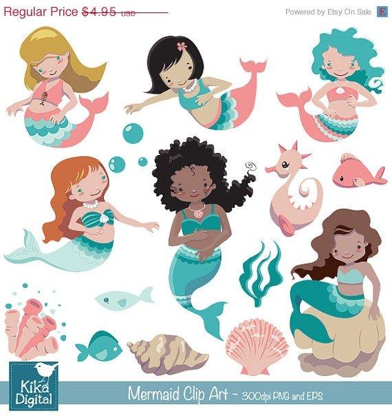Mermaid clipart,little mermaid clip art,under the sea vector,scrapbook,invitation,greeting cards