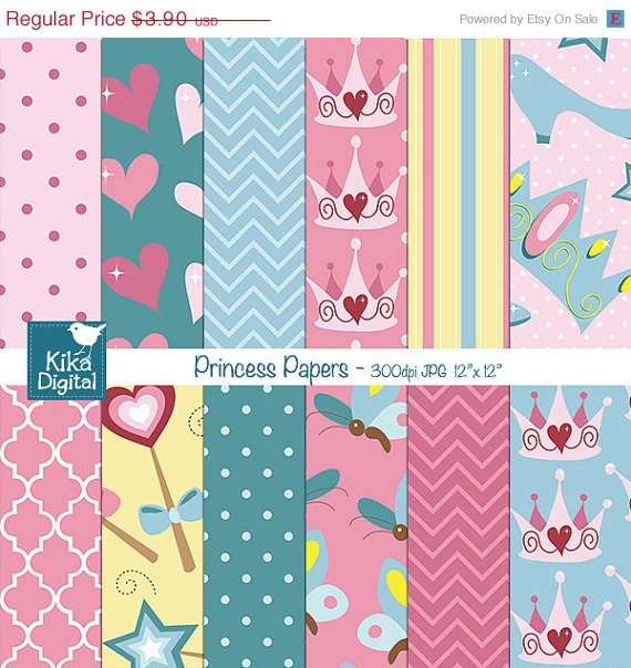 Princess Digital Papers - Scrapbooking, card design, stickers, background