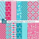 Pink , Turquoise Digital Papers - Scrapbooking, card design, background