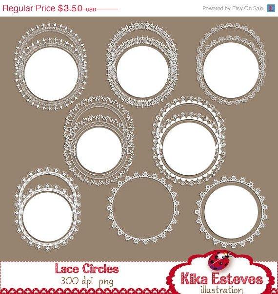 Lace Circles - Digital Clipart / Scrapbook - card design, invitations