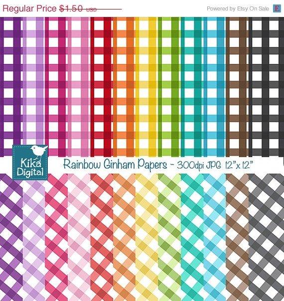 Colorful Gingham Digital Papers- Colorful Digital Scrapbook Papers- card design