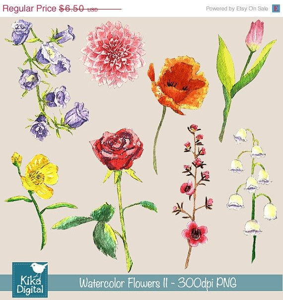 H, Painted Watercolor Flowers Ii Clipart - card design, watercolor, h, drawn