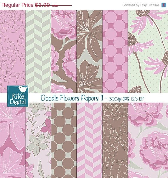 Doodle Flowers Digital Papers II - Floral Scrapbook Papers - card design