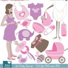 Girl Baby Shower Digital Clipart - Scrapbooking , card design, paper craft