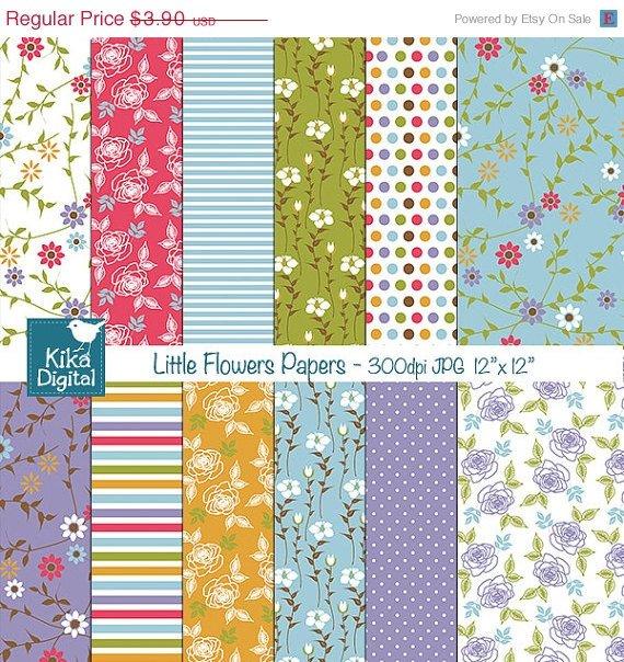 Little Flowers Digital Papers - Digital Scrapbooking Papers - card design