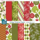 Vintage Christmas Digital Papers - Christmas Scrapbook Papers - card designA