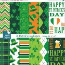 St Patricks Day Digital Papers, Irish Digital Scrapbook Papers card design