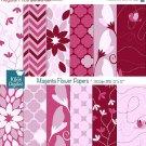 Pink Floral Digital Papers- Magenta Floral Paper Pack- Scrapbooking, card design