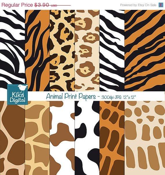 Animal Print Digital Papers - Scrapbooking, card design, invitations, background