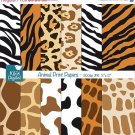 Animal Print Digital Papers - Scrapbooking, card design, invitations, background